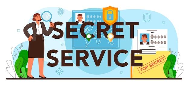 Typografische kopfzeile des geheimdienstes. spionageagent oder fbi ermitteln