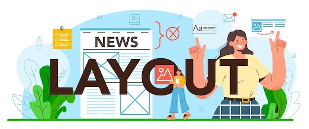 Typografische kopfzeile des layouts. entwicklung von zeitschriften- oder zeitungslayouts, textsatz. design und optimierung von mobilen apps und websites. flache vektorillustration