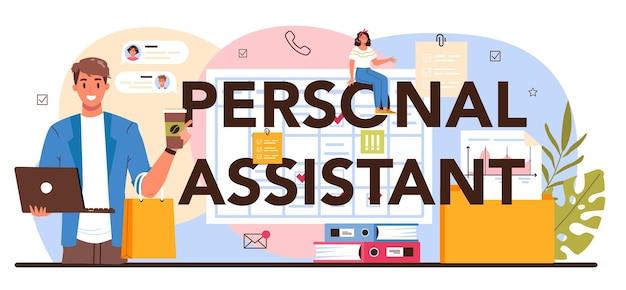Typografische kopfzeile des persönlichen assistenten. sekretärin nimmt anrufe entgegen