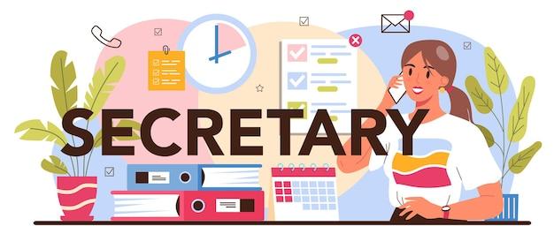 Typografische kopfzeile des sekretärs. rezeptionistin nimmt anrufe entgegen und hilft
