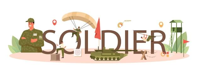 Typografische kopfzeile des soldaten