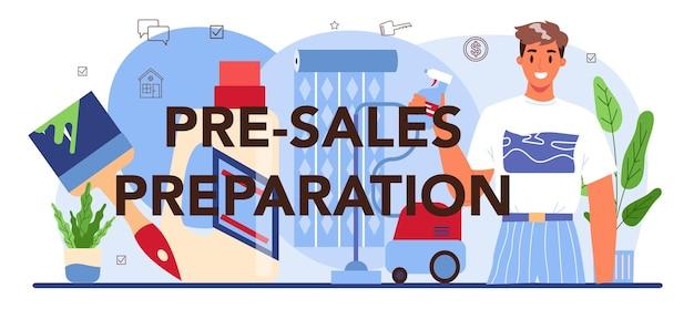 Typografische kopfzeile für die vorbereitung des vorverkaufs. immobilienwirtschaft. . abschlussarbeiten