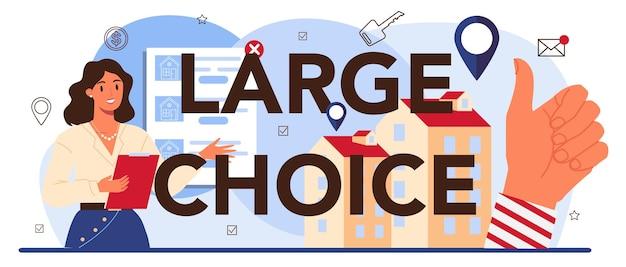 Typografische kopfzeile mit großer auswahl. immobilienwirtschaft. idee der großen auswahl an haus zum verkauf und zur miete. unterstützung von immobilienmaklern und hilfe bei der immobilienhypothek. vektor-illustration