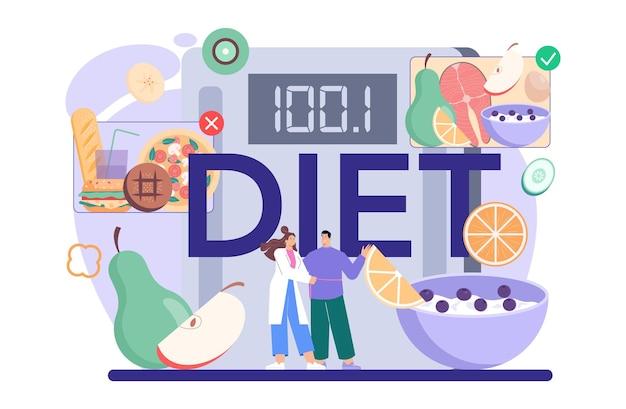 Typografische überschrift der ernährung. ernährungstherapie mit gesundem essen