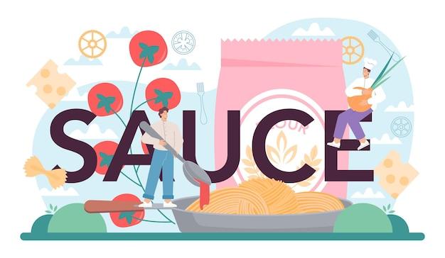 Typografische überschrift der sauce. italienische pasta auf dem teller. leckeres abendessen, fleischgericht. spaghetti, pilze, frikadellen, tomatenzutaten. isolierte vektorillustration im cartoon-stil