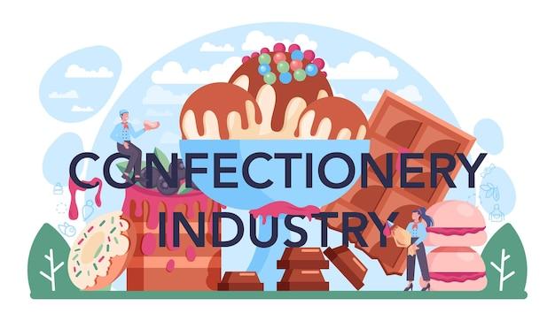 Typografische überschrift der süßwarenindustrie. leckeres gebäck und süßigkeitenfabrik. herstellungsverfahren für brot, schokolade und karamell. isolierte flache vektorillustration