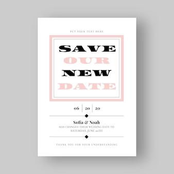 Typografische verschobene hochzeitskarte