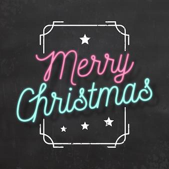 Typografische weihnachten design / frohe weihnachten / neon style