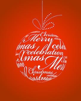 Typografische weihnachtskugel auf rotem grund. illustrationsvorlage