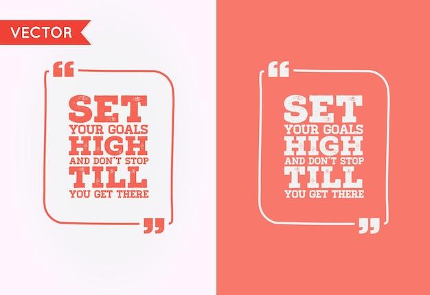Typografische zitat-vorlagenblase. template quote set. trendige farben.