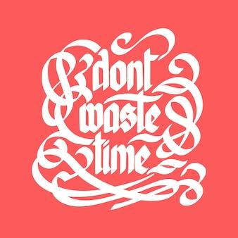 Typografische zitatvorlage mit kalligraphischer stilisierter weißer inschrift