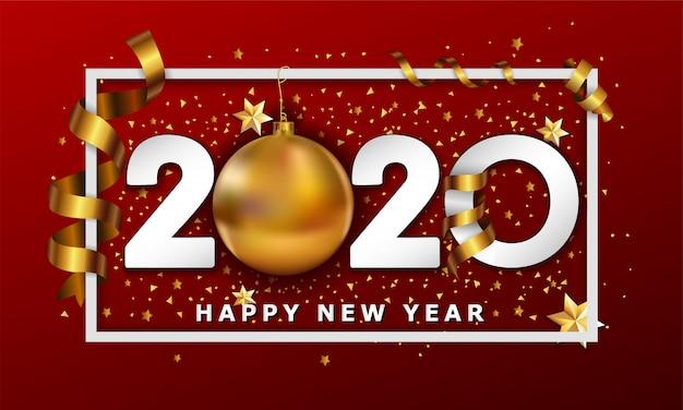 Typografischer cretaive hintergrund 2020 des neuen jahres mit weihnachtsgoldenen kugelflitter- und -streifenelementen
