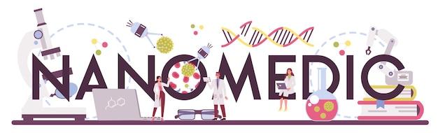 Typografischer header der nanomedizin. wissenschaftler arbeiten im labor für nanotechnologie.