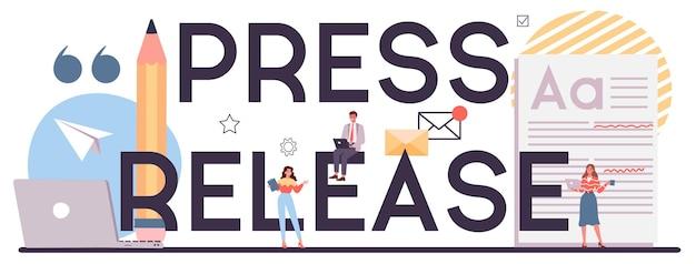 Typografischer header der pressemitteilung