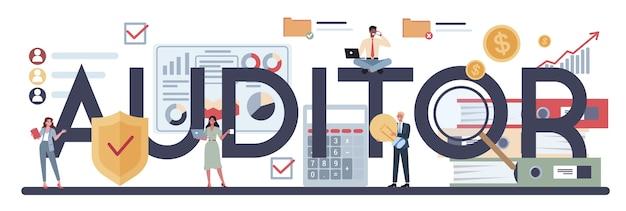 Typografischer header des auditors