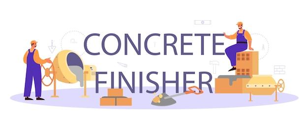 Typografischer header des builders für betonfertiger