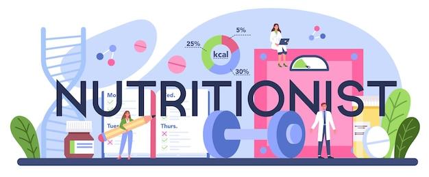 Typografischer header des ernährungswissenschaftlers