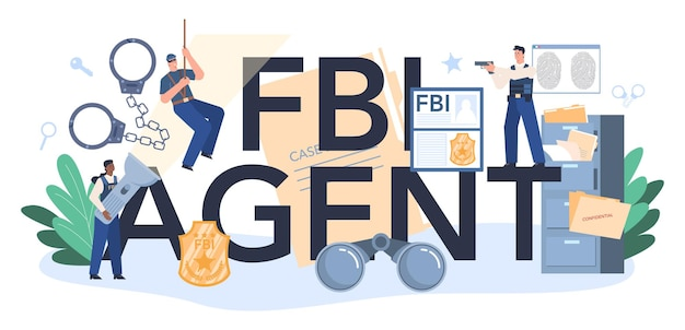 Typografischer header des fbi-agenten