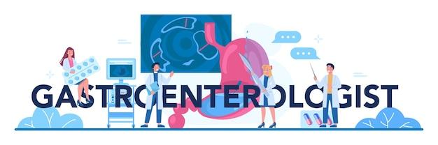 Typografischer header des gastroenterologen. idee der gesundheitsversorgung und magenbehandlung.