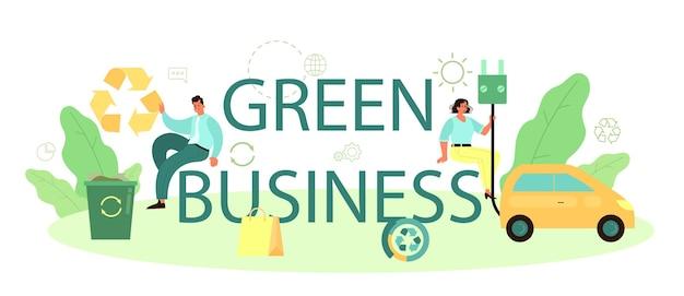 Typografischer header des grünen geschäfts
