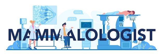 Typografischer header des mammologen. idee der gesundheitsversorgung und ärztlichen untersuchung.