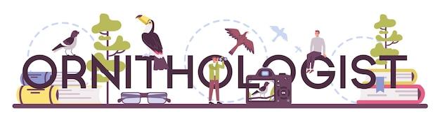 Typografischer header des ornithologen.