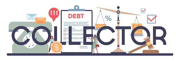 Typografischer header des schuldeneintreibers.