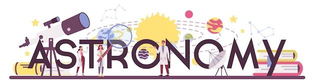 Typografischer header für astronomie und astronomen. professioneller wissenschaftler, der durch ein teleskop auf die sterne im observatorium schaut. astrophysiker studie sterne karte.