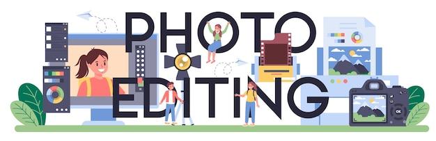 Typografischer header für die fotobearbeitung