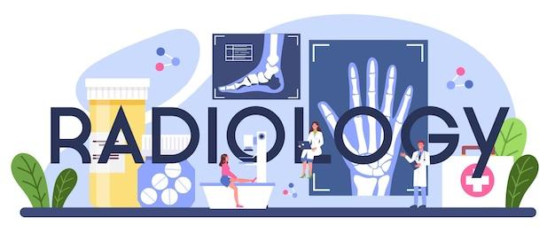 Typografischer header für die radiologie. idee der gesundheitsversorgung und krankheitsdiagnose.