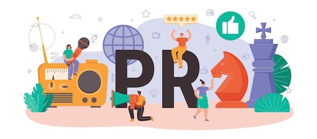 Typografischer header für öffentlichkeitsarbeit. spezialist für die entwicklung kommerzieller markenwerbung und den aufbau von kundenbeziehungen. flache vektorillustration