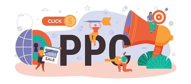 Typografischer ppc-header. pay-per-click-manager, kontextbezogen