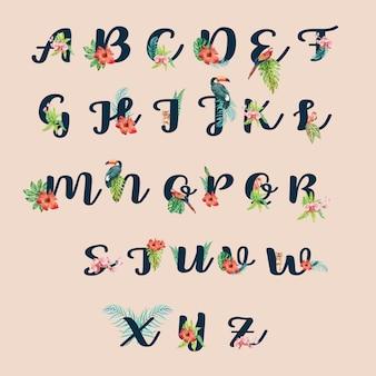Typografischer sommer der tropischen alphabethandschrift mit betriebslaubkonzept