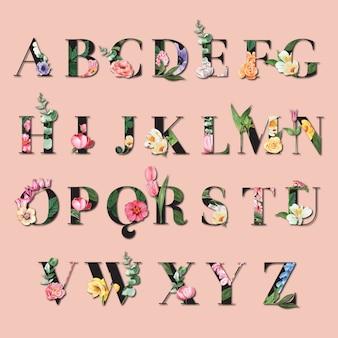 Typografischer sommer des tropischen alphabet san-serif-gusses mit betriebslaub