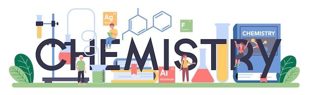 Typografischer text der chemie mit illustration.