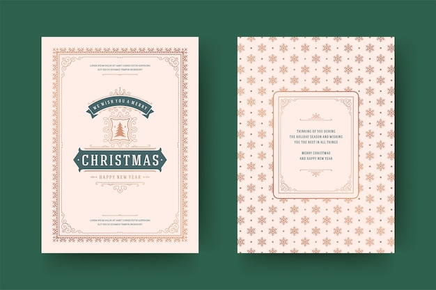 Typografisches design der verzierten dekorationssymbole der weihnachtsgrußkarte vintage mit feiertagswunsch