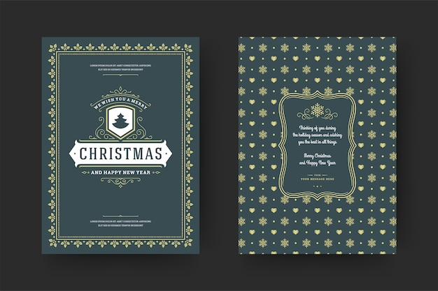 Typografisches design der verzierten dekorationssymbole der weihnachtsgrußkarte vintage mit winterferienwunsch