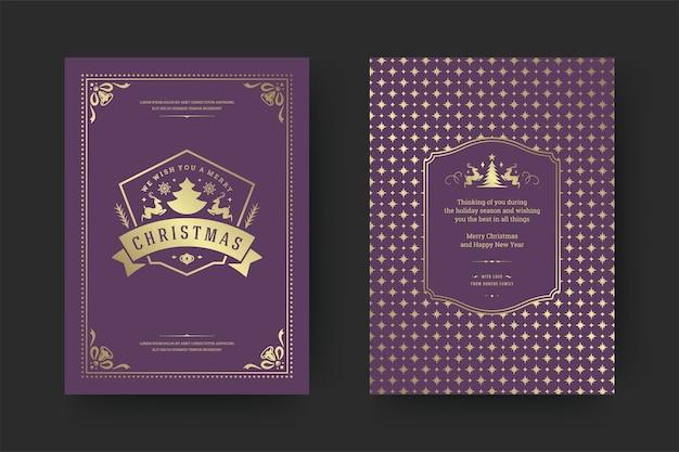 Typografisches design der weihnachtsgrußkarte vintage mit verzierten dekorationssymbolen