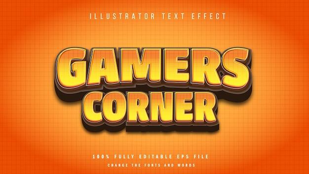 Typografisches design des 3d-texteffekts der gamere-ecke