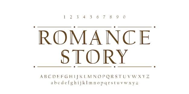 Typografisches design des romance gussalphabetes