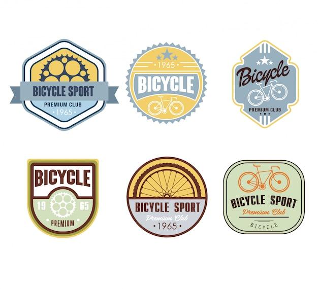 Typografisches fahrrad-themen-etikettendesign-set - fahrradgeschäft
