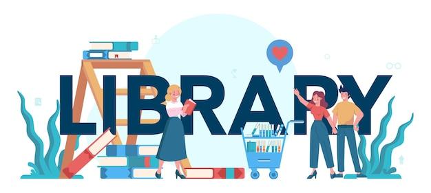 Typografisches header-konzept der bibliothek. bibliotheksmitarbeiter halten und sortieren