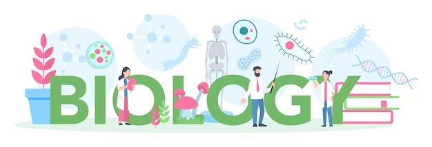 Typografisches header-konzept des faches biologie. wissenschaftler erforschen mensch und natur. anatomie- und botanikunterricht. idee von bildung und experiment.