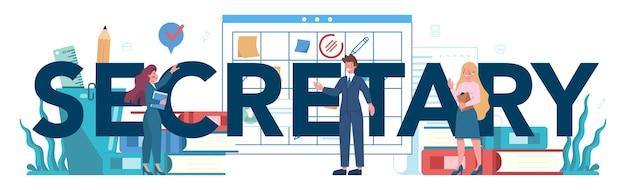 Typografisches header-konzept des sekretärs. empfangsdame, die anrufe entgegennimmt und beim dokument hilft. professioneller büroangestellter am schreibtisch am computer.