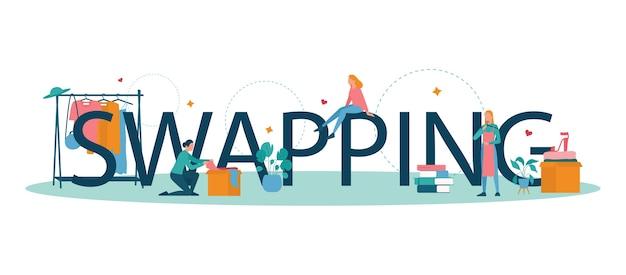 Typografisches header-konzept für swap-party oder flohmarkt