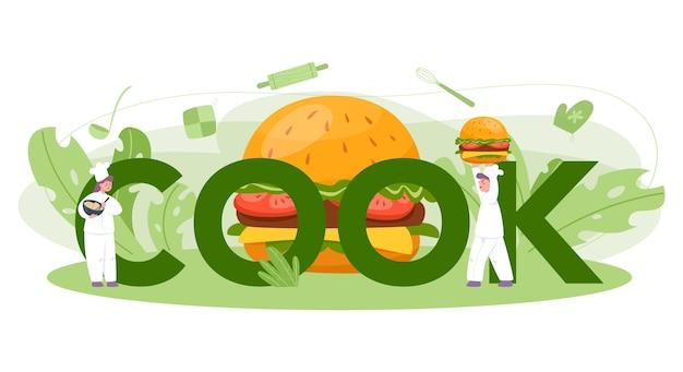 Typografisches header-konzept von fast food, burger house. chefkoch kochen leckeren hamburger mit käse, tomaten und rindfleisch zwischen leckeren brötchen. fastfood-restaurant.