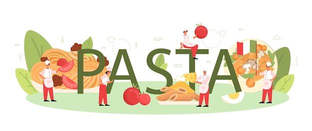 Typografisches pasta-wort. italienisches essen auf dem teller. leckeres abendessen, fleischgericht. pilz, fleischbällchen, tomaten zutaten. isoliert