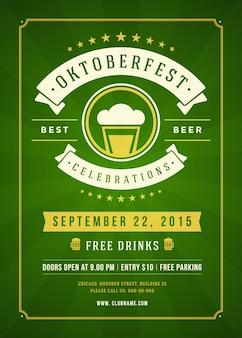 Typografisches plakat des oktoberfest-bierfestivals