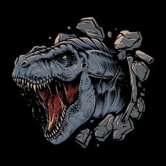 Tyrannosaurier rex angriff illustration design