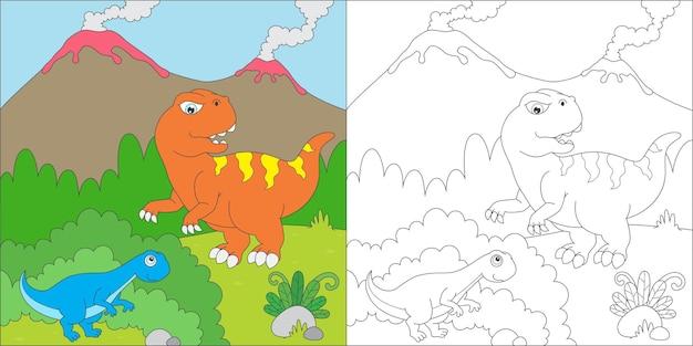 Tyrannosaurus beim verstecken ausmalen